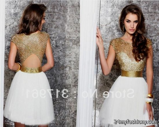 white and gold cocktail dress 2016-2017 » B2B Fashion