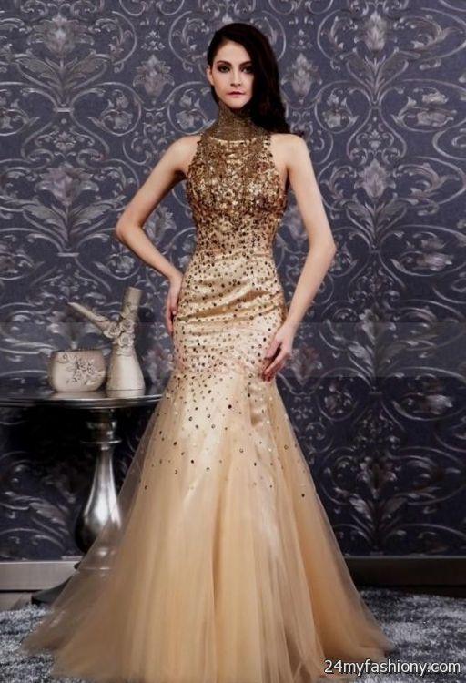 White And Gold Mermaid Prom Dress 2016 2017 B2b Fashion