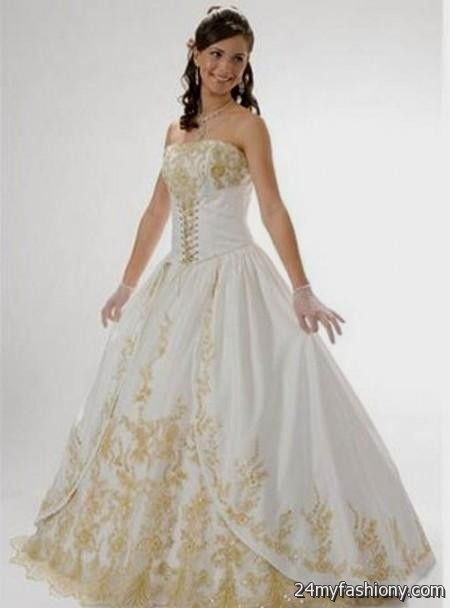 White and Gold Princess Prom Dresses