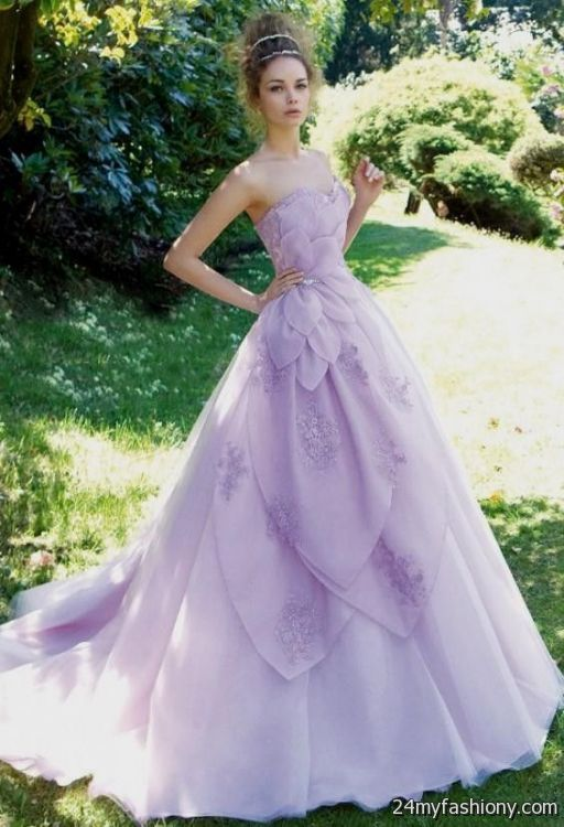 White And Lilac Wedding Dress 2016 2017