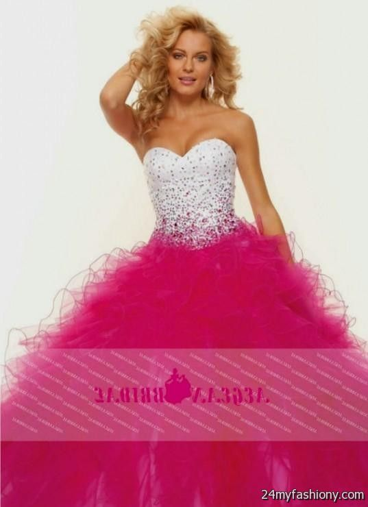 63cdf68dbe5 You can share these white and pink prom dresses on Facebook
