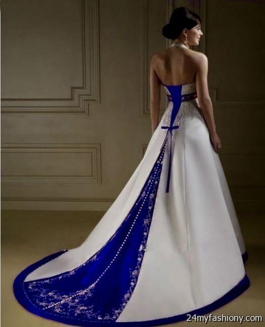 Wedding Dress White And Blue: White And Royal Blue Wedding Dresses 2017-2018