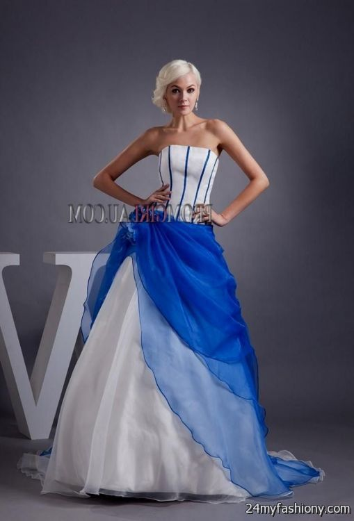 White And Royal Blue Wedding Dresses 2017 2018 B2b Fashion