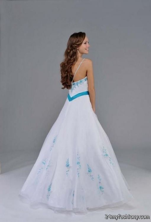 Torquoise and White Long Prom Dresses