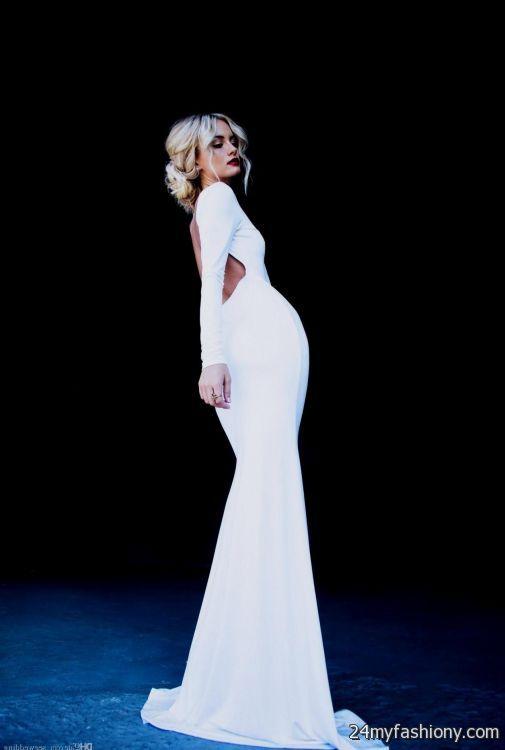 White Backless Long Sleeve Prom Dress Looks B2b Fashion