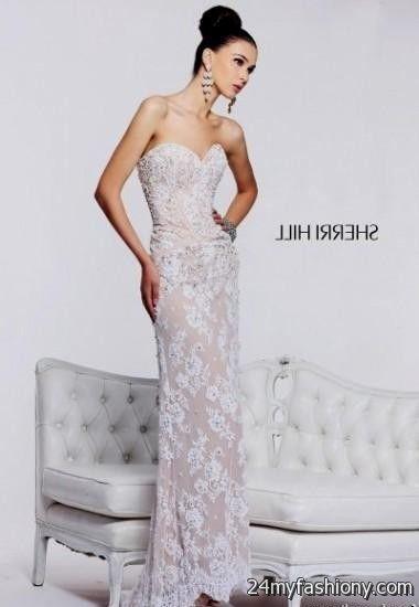 20281144c50 White lace prom dress Sherri Hill 2017-2018