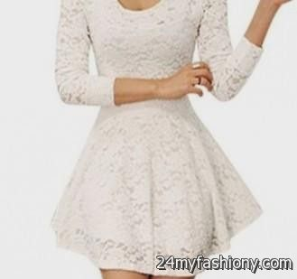 white lace skater dress with sleeves 2016-2017 » B2B Fashion