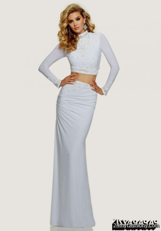 White Long Sleeve Prom Dresses 2018 - Homecoming Party Dresses