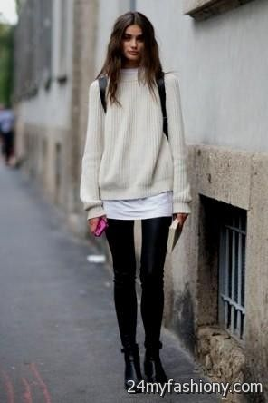 White Sweater Dress with Leggings