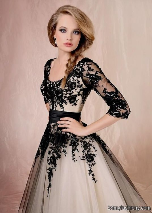 Wedding dresses with black lace overlay