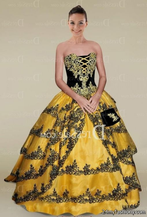 Yellow And Black Ball Gown Looks B2b Fashion