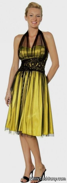 Yellow and black cocktail dress