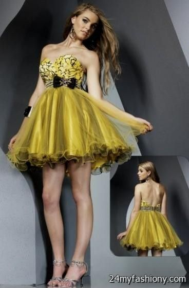 Yellow And Black Cocktail Dress  Shop Online  Stylewe