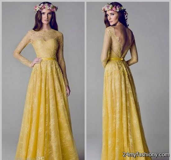 yellow gowns with sleeves 2016-2017 » B2B Fashion
