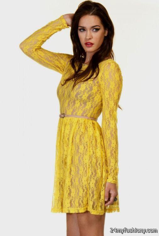 yellow lace dress 2017 - photo #10