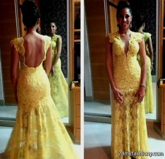 yellow lace prom dress 2017 - photo #24