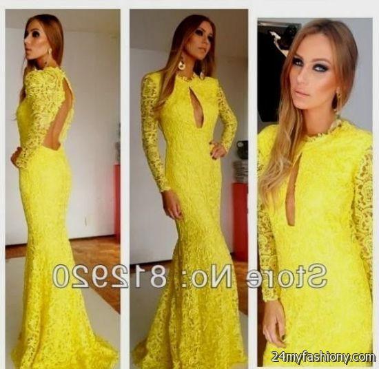 yellow lace prom dress 2017 - photo #15