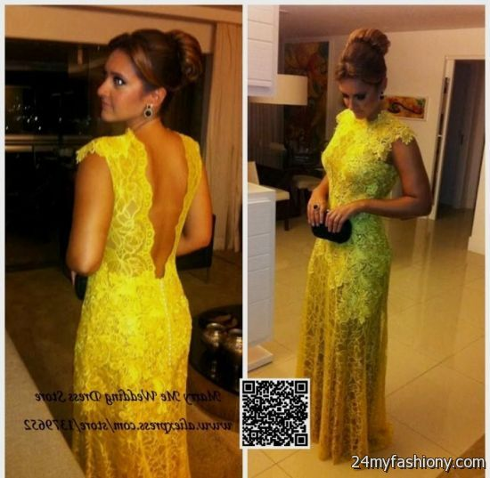 yellow lace prom dress 2017 - photo #29