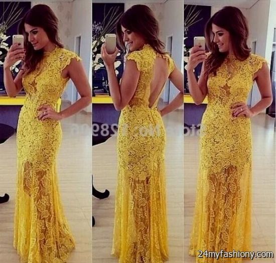 yellow lace prom dress 2017 - photo #27