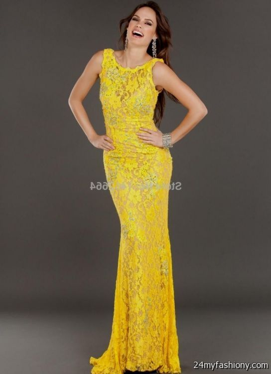 yellow lace prom dress 2017 - photo #5