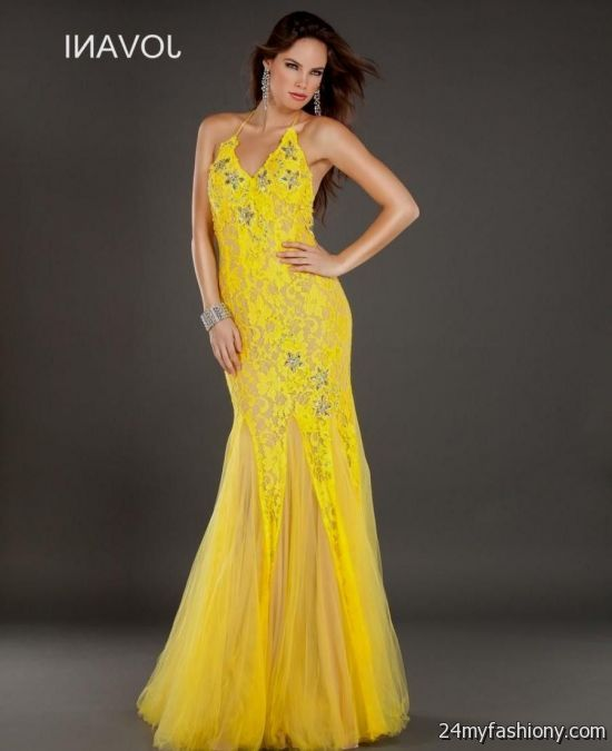 yellow lace prom dress 2017 - photo #3