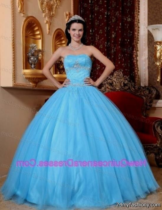 d5a766f7c65 You can share these aqua blue and white quinceanera dresses on Facebook