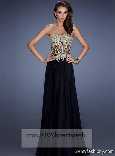 2019 year for women- Gold and black corset prom dresses