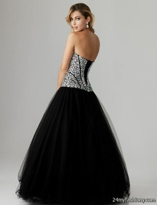 Black and silver corset prom dress