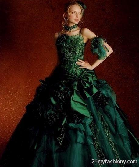 Plus Size Gothic Wedding Dresses 2016 2017: Black And Green Gothic Wedding Dresses 2016-2017