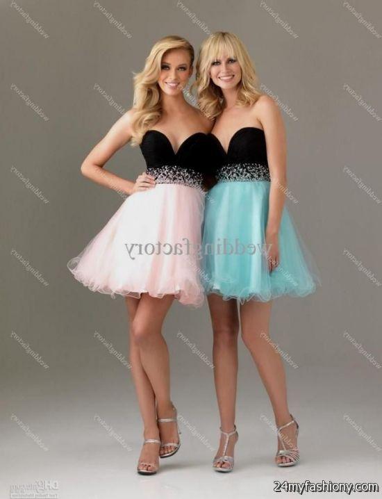 Light blue and black prom dresses