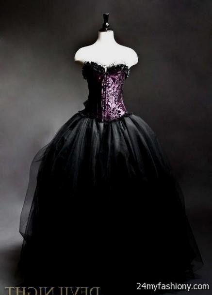 black and purple gothic wedding dresses 20162017 b2b