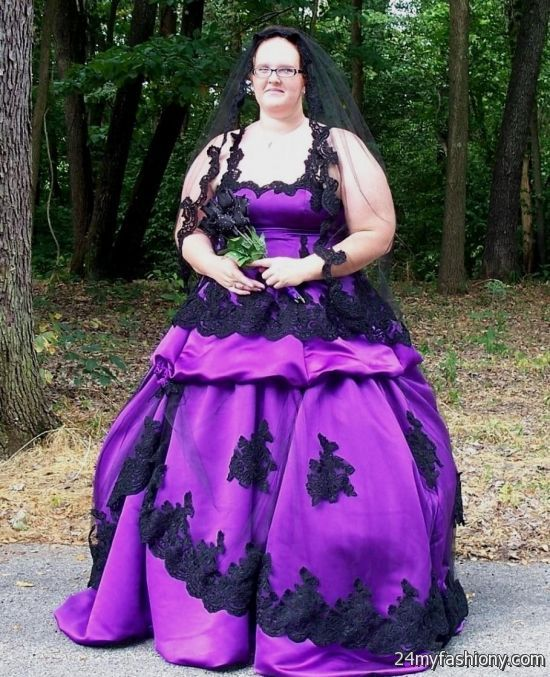 Black And Purple Gothic Wedding Dresses Looks