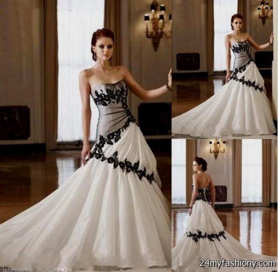 Gothic Wedding Dresses 2016 A Line Strapless Black Taffeta: Black And White Gothic Wedding Dresses 2016-2017