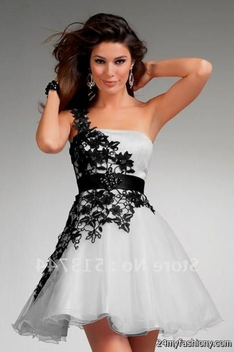 black and white lace prom dress with sleeves 2016-2017 » B2B Fashion
