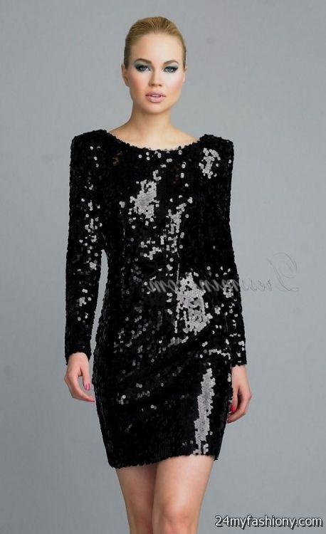 black sequin dresses with sleeves 2016-2017 » B2B Fashion