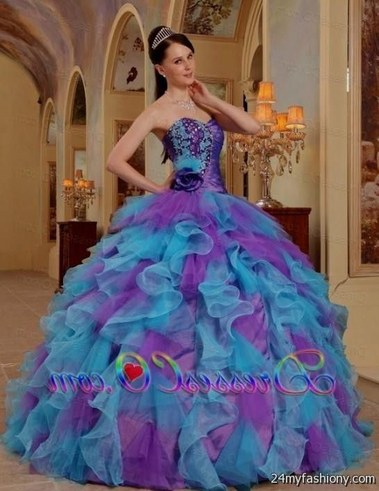 blue and purple and white quinceanera dresses 20162017