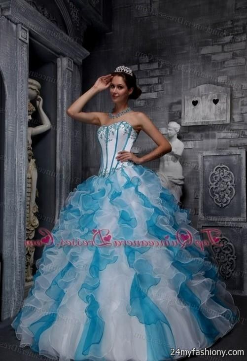 76475af4c8a You can share these blue and purple and white quinceanera dresses on  Facebook
