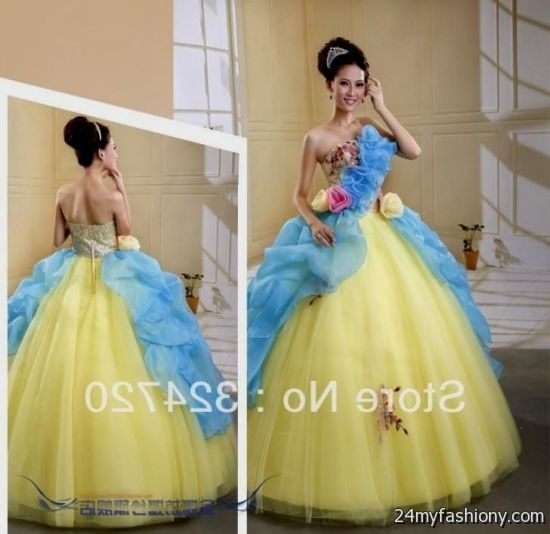 6ce9c791bb8 You can share these blue and yellow quinceanera dresses on Facebook