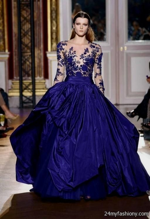 blue ball gown with sleeves 2016-2017 » B2B Fashion