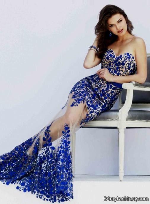 Lace prom dress blue