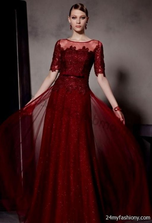 dark red prom dresses with sleeves looks   B2B Fashion