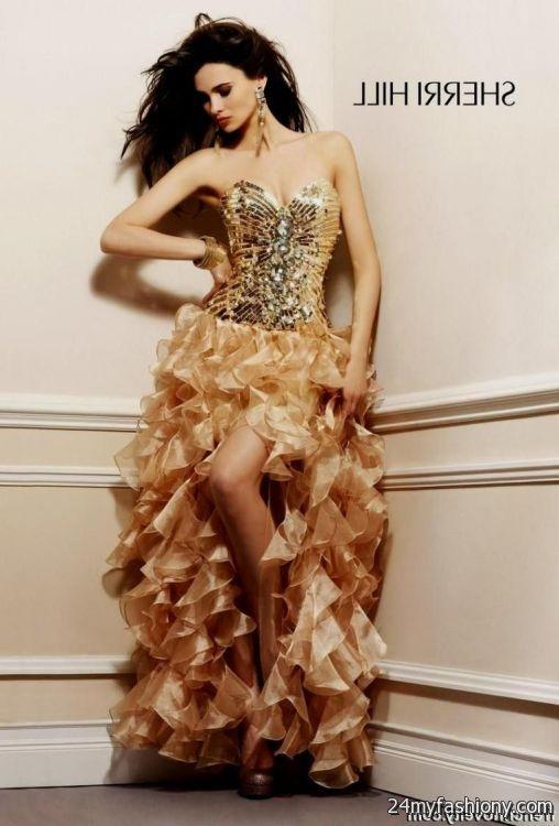 Gold And Black High Low Prom Dresses Looks B2b Fashion
