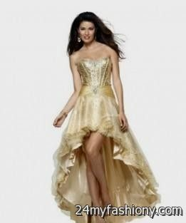 High Low Prom Dresses Red and Gold