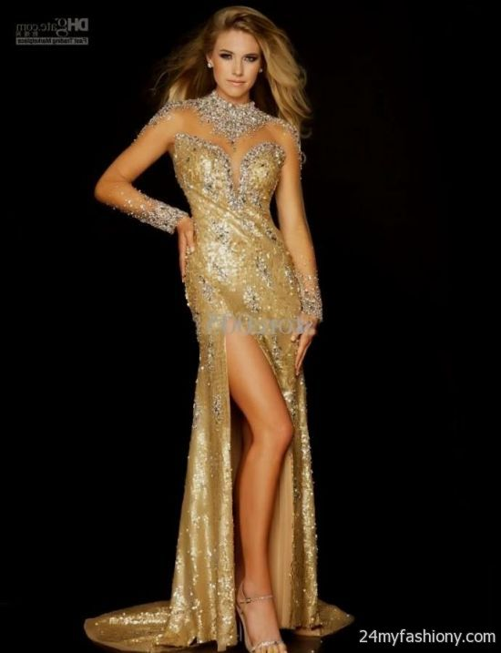 Quinceanera Dresses 2014 Mint gold sequin prom dress...