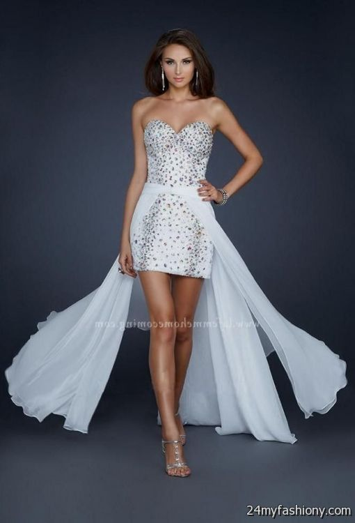White High Low Prom Dresses 2017 101