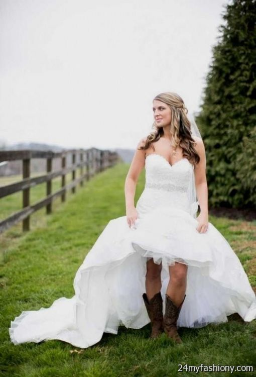 High low wedding dresses with cowboy boots 2016 2017 b2b for Wedding dresses with cowgirl boots