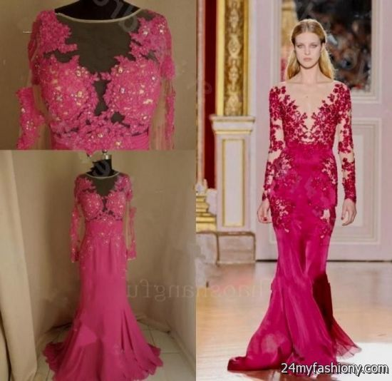 Hot Pink Lace Prom Dress Looks B2b Fashion