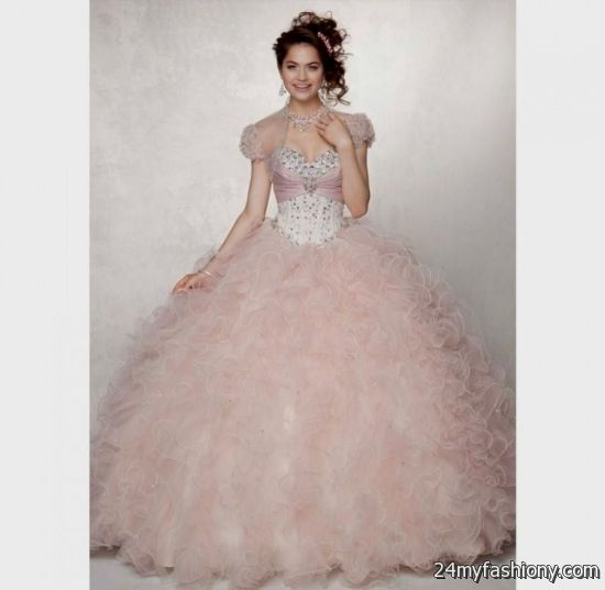 fd749c7319f You can share these light pink and gold quinceanera dresses on Facebook