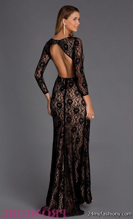 long sleeve black lace dress floor length 20162017 b2b