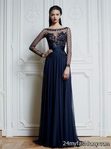 navy blue prom dress with sleeves 2016-2017 » B2B Fashion